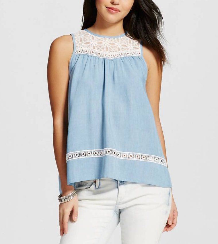 Women's Chambray and Lace Flyaway Tank Top
