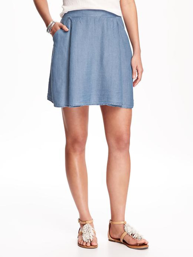 Fit & Flare Chambray Skirt for Women