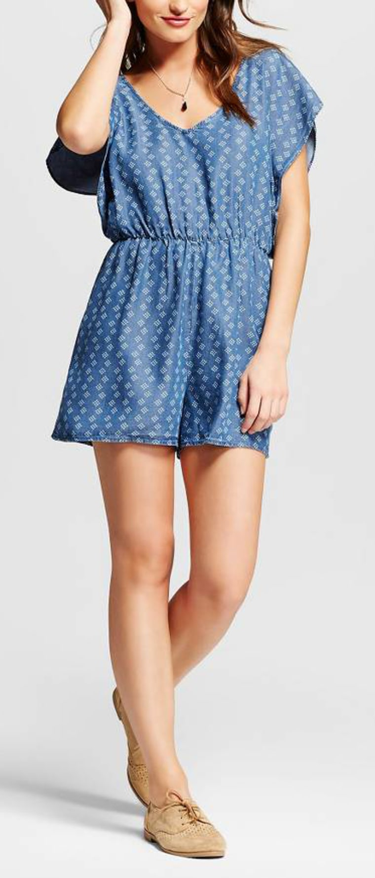 Printed Chambray Romper