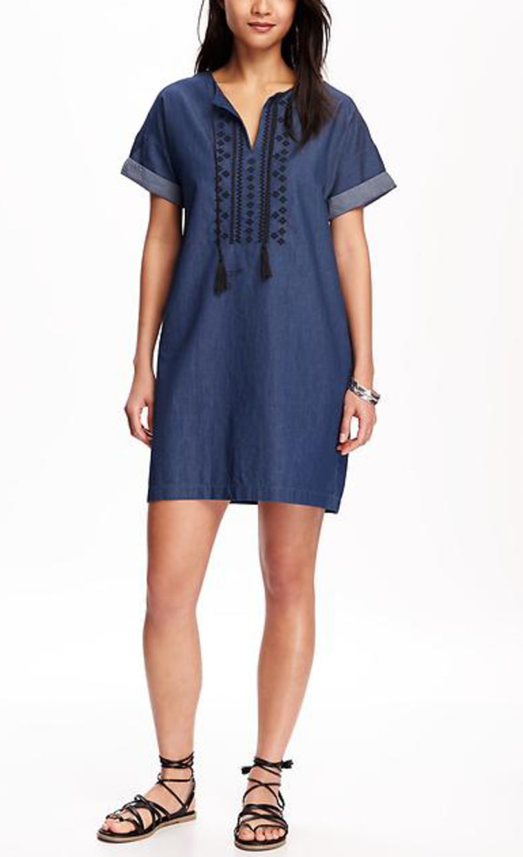 Embroidered-Front Chambray Shift Dress for Women