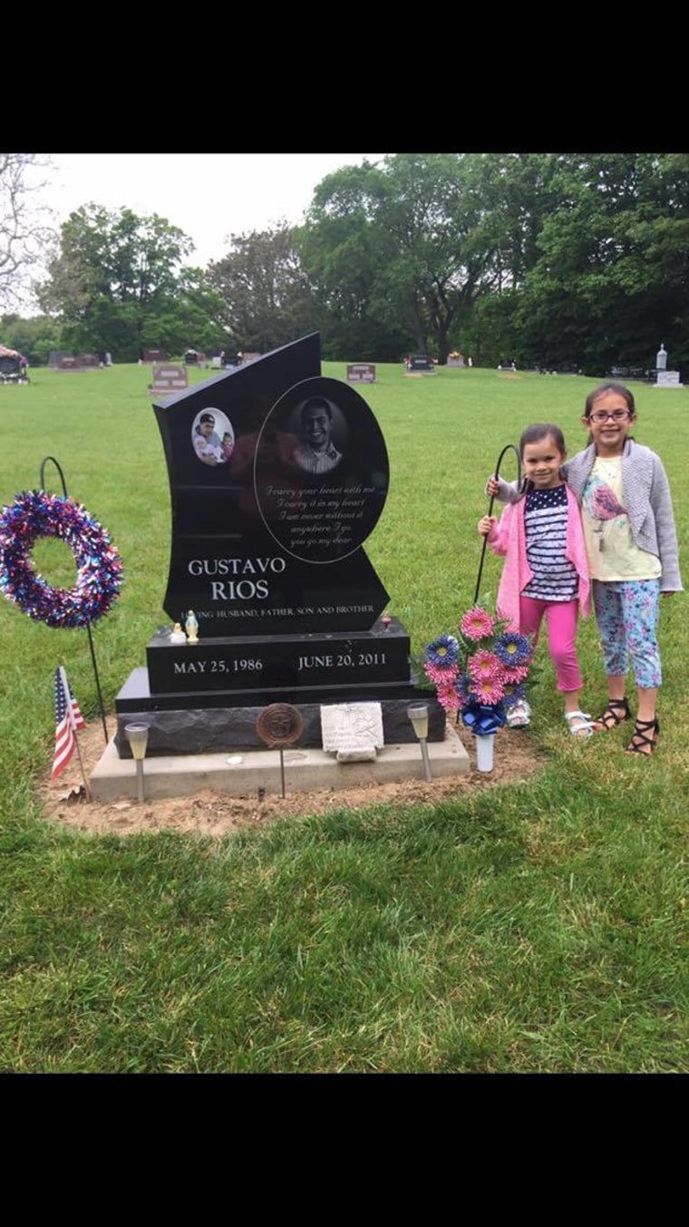Elizabeth and Isabella Rios at their father's gravesite.