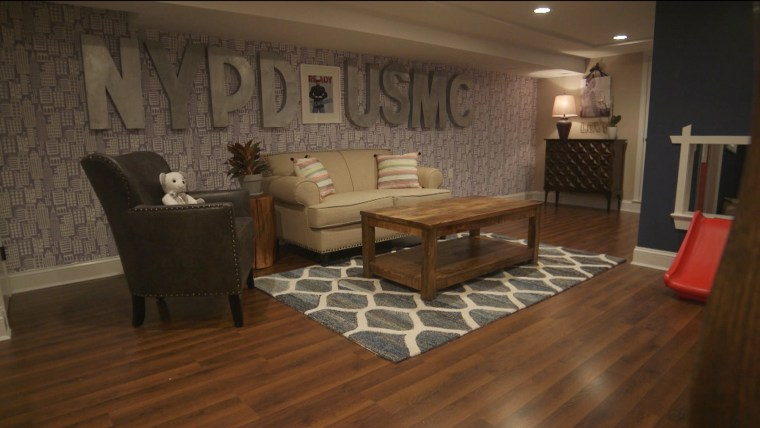 'George to the Rescue' transformed the unfinished basement into a bright, homey space for Dennis and Declan.