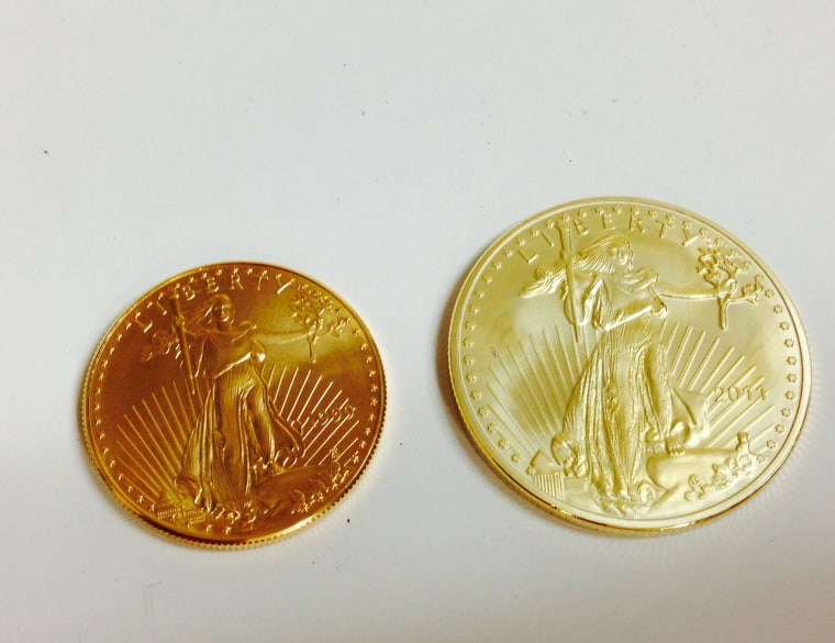 My Hobby English Essay A Genuine Oneounce American Eagle Gold Coin Is On The Left The Item What Is Thesis In Essay also The Yellow Wallpaper Essay Topics Glitters But Not Gold Fake Gold And Silver Coins Flooding Market Businessman Essay