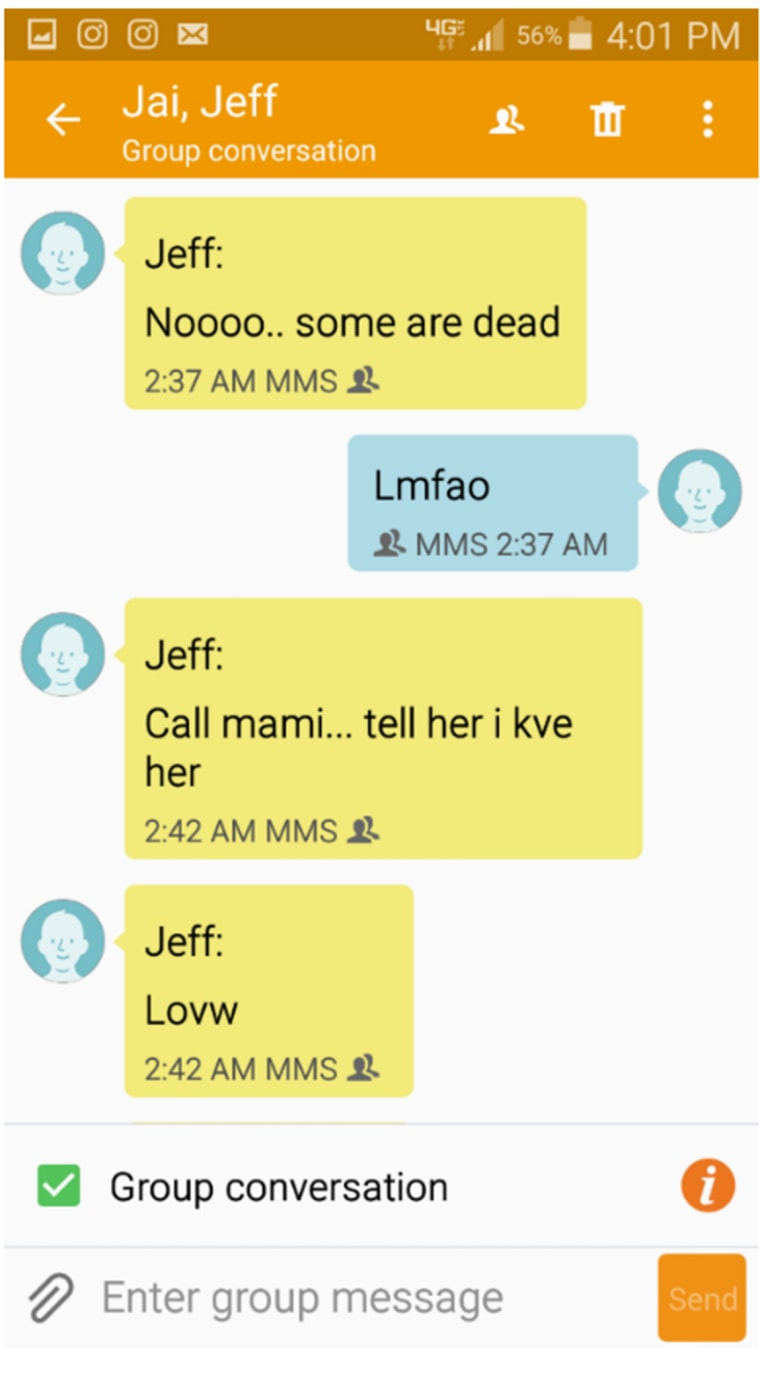 Image: Text messages exchanged by brothers Santos and Jeff Rodriquez