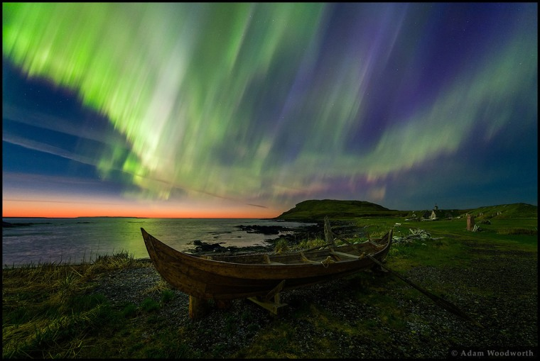 """In the photo composite submissions, where frames of various exposure or focus settings are blended, the winner in the Beauty category is """"Viking Lights"""" by Adam Woodworth from USA, captured in Newfoundland, Canada (June 2015). """""""