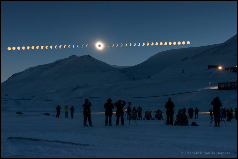 "In the photo sequence submissions, that also include star trails, the winner in the Beauty category is ""Total Solar Eclipse from Svalbard"" by Thanakrit Santikunaporn from Thailand. The sequence has captured the eclipse phases every 3 minutes over frozen landscape of Svalbard, Norway on 2015 March 20."