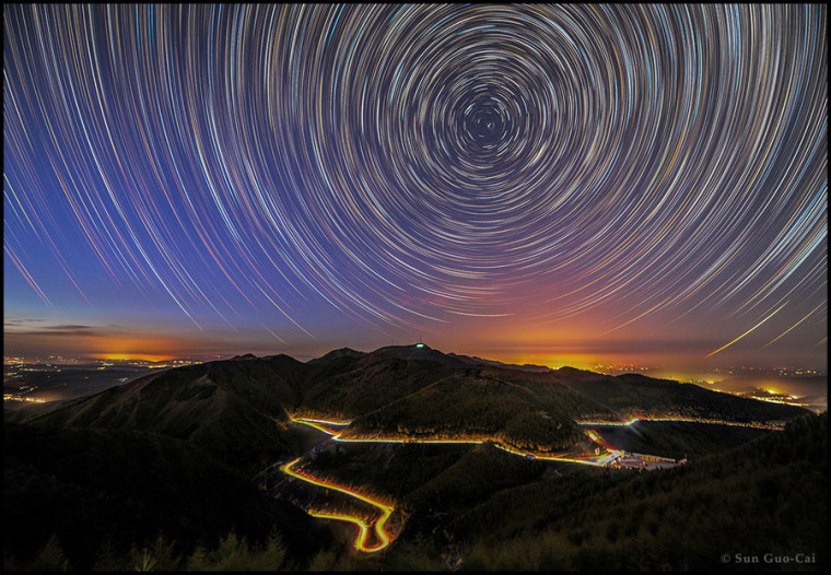 "The Light category winner of photo sequences is ""Mountain Liupan Startrails"" by Sun Guo-Cai from China, captured in Ningxia region October 2015."