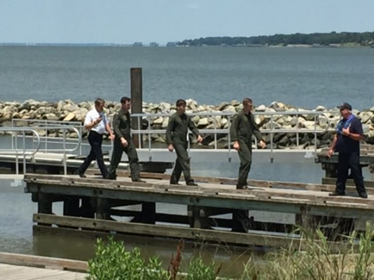 Three people were rescued from a downed Navy helicopter near the James River Bridge on June 14, 2016. It went down during a routine training mission.