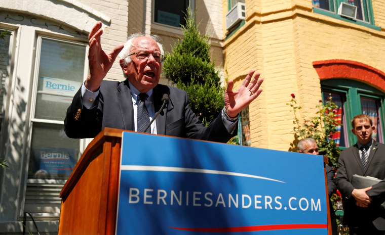 Image: Bernie Sanders speaks from his campaign headquarters in  Washington