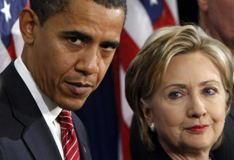 Image: Barack Obama and Hillary Clinton in 2008