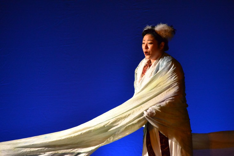 "Miki Yamashita in an LA Opera performance of ""The White Bird of Poston."""