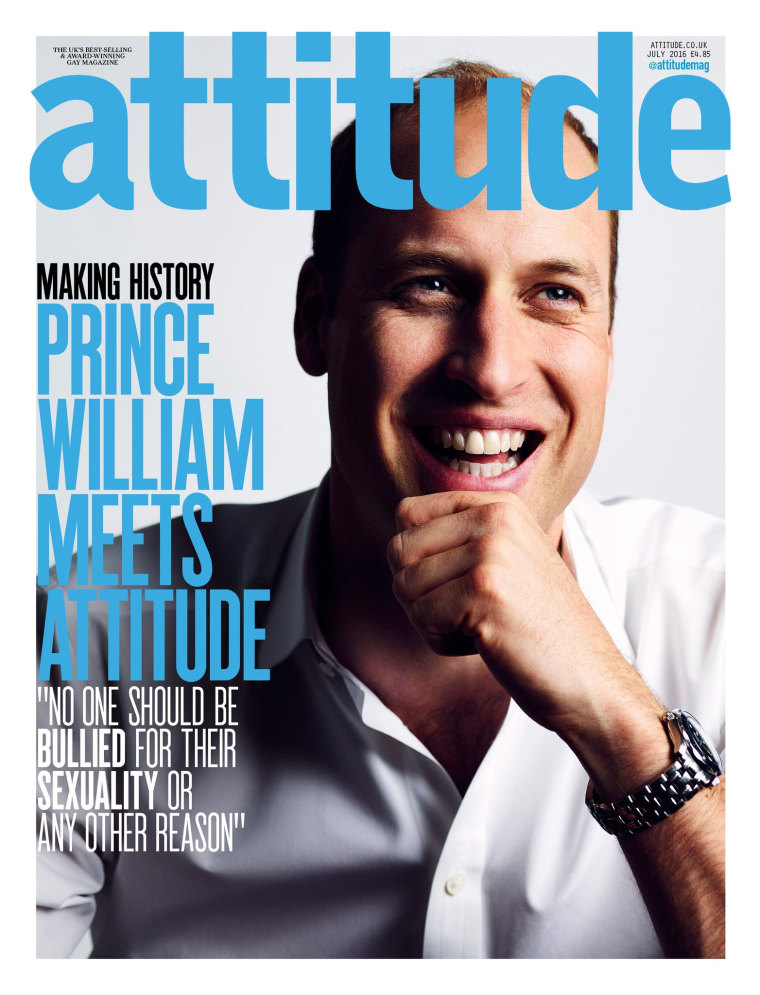 Prince William will appear on the July cover of Attitude speaking out against homophobia, the first time a British royal has been photographed for the front of a gay publication, the magazine said on Wednesday.