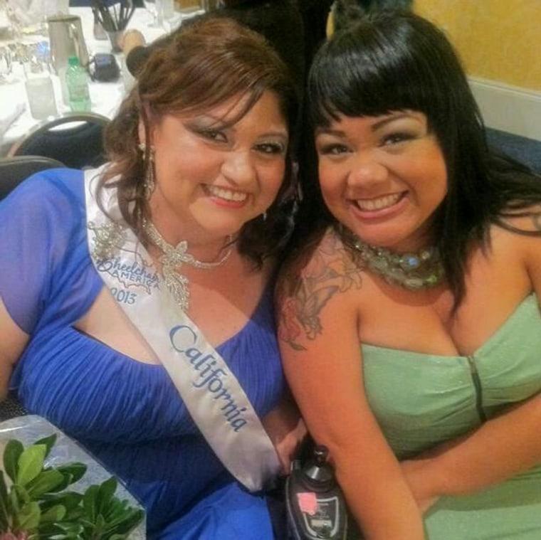 Jennifer Kumiyama, right, posing with the 2012 Miss Wheelchair California, Mary Zendejas.