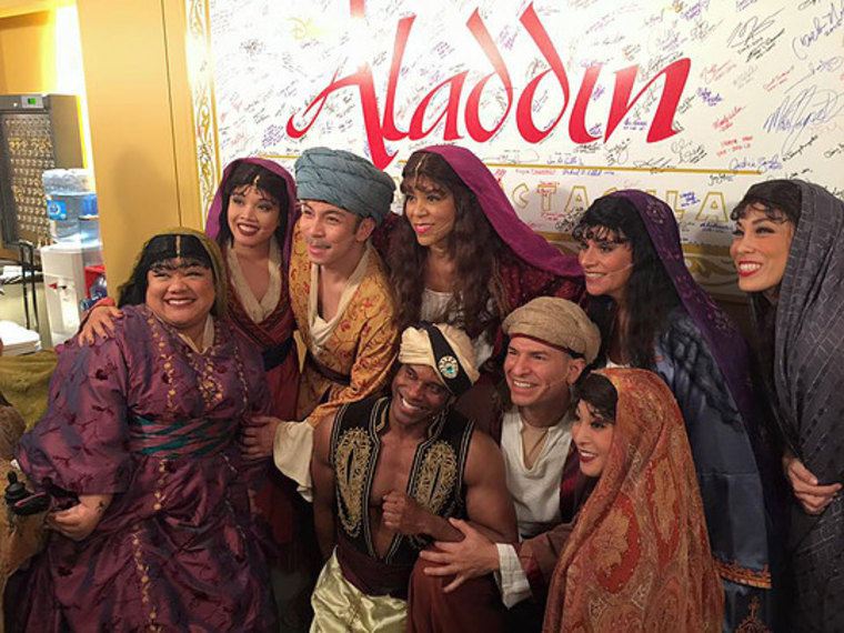 """Kumiyama, left, with other cast members from Disney's California Adventure's """"Aladdin."""""""
