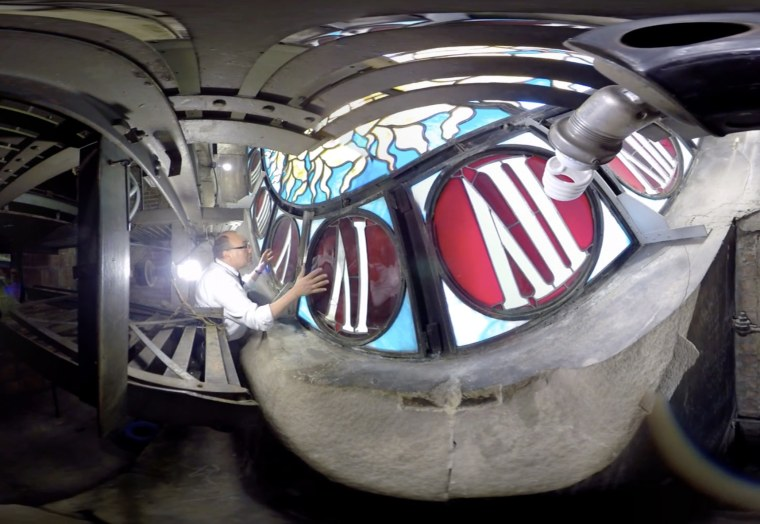 Image: Dan Brucker, the manager of Grand Central Tours for Metro-North Railroad, took NBC News behind the scenes to reveal some of the hidden historic secrets, including the world'??s largest example of Tiffany glass.