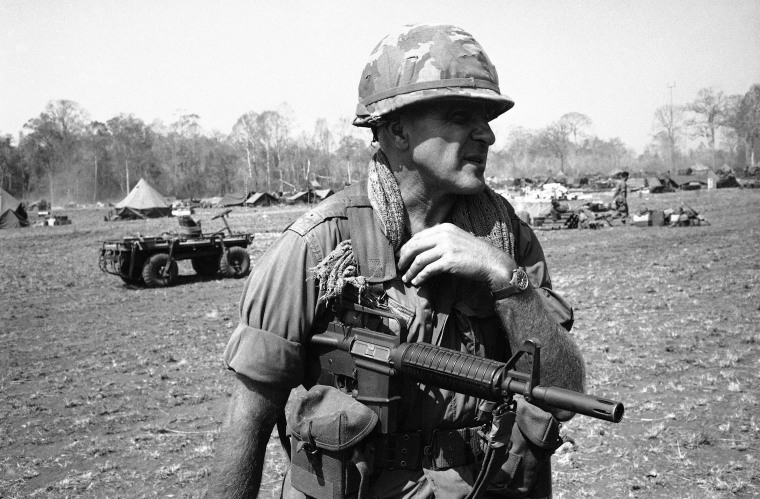 FILE: Colonel Robert Sigholtz from Springfield, Virginia holds a new rifle in March 1967 — the AR-15