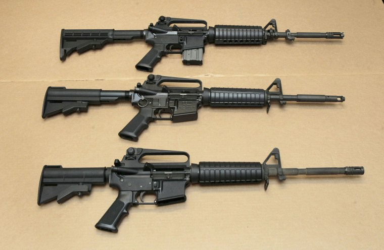 In this Aug. 15, 2012 file photo, three variations of the AR-15 assault rifle are displayed at the California Department of Justice in Sacramento, Calif. While the guns look similar, the bottom version is illegal in California because of its quick reload capabilities. Omar Mateen used an AR-15 that he purchased legally when he killed 49 people in an Orlando nightclub over the weekend President Barack Obama and other gun control advocates have repeatedly called for reinstating a federal ban on semi-automatic assault weapons that expired in 2004, but have been thwarted by Republicans in Congress.
