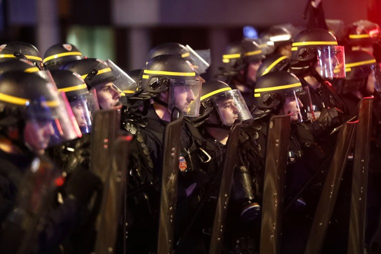 Image: Police officers during pause in clashes in Lille, France, on June 16, 2016