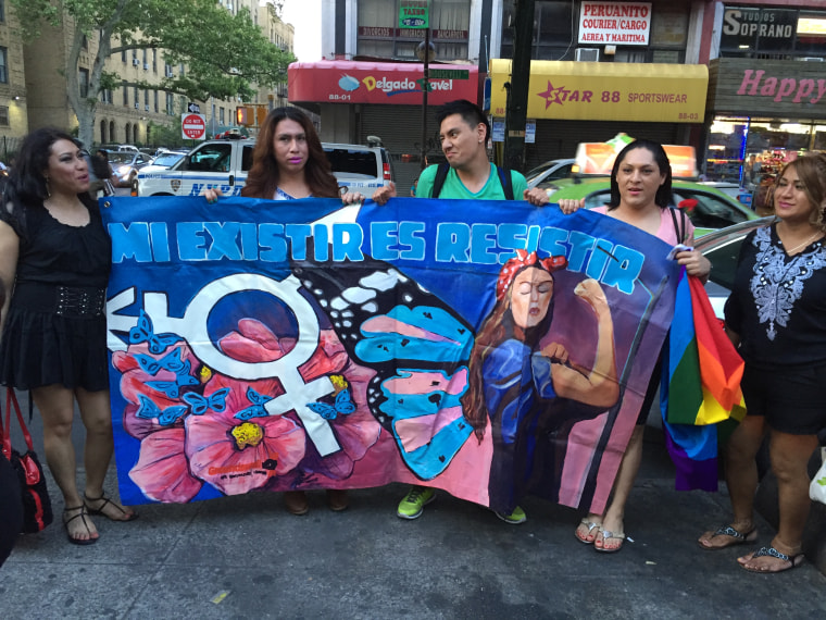 Trans activists march on Roosevelt Ave. in solidarity with the LGBTQ Latinx victims of the Orlando Shooting.