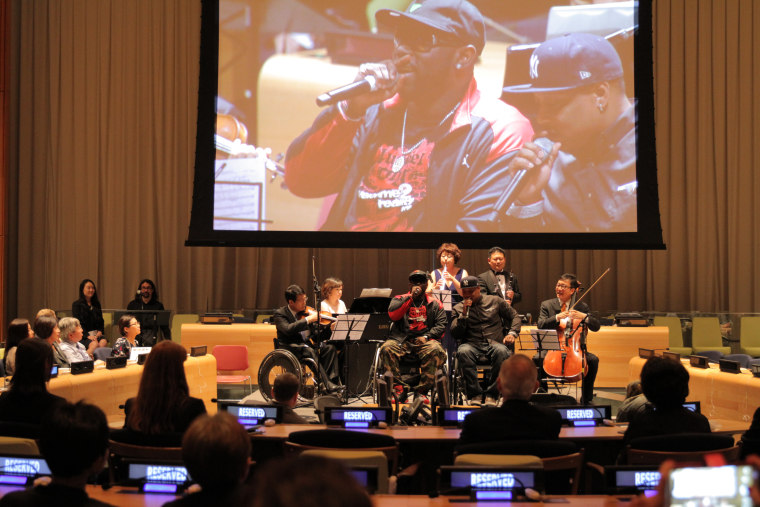 Performers with the Beautiful Mind charity performing at the United Nations headquarters in New York City.