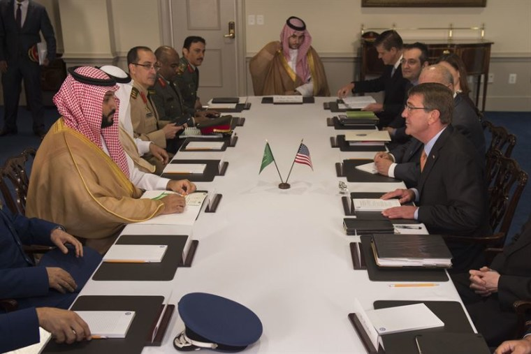 Defense Secretary Ash Carter meets with Deputy Crown Prince and Minister of Defense Mohammed bin Salman of Saudi Arabia at the Pentagon June 16, 2016. The two leaders met to discuss matters of mutual importance.
