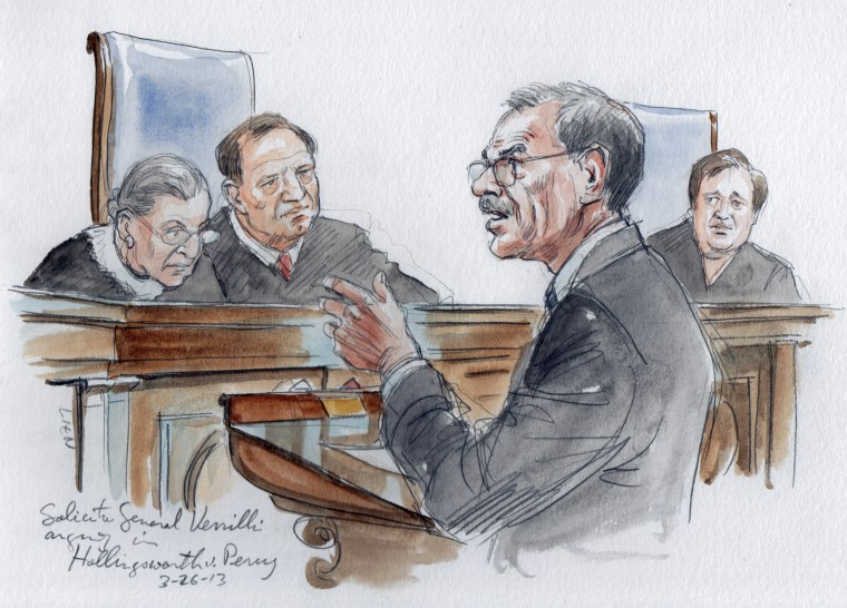 Solicitor General Donald Verrilli argues in front of Justices Ruth Bader Ginsburg, Samuel Alito, and Elena Kagan in the U.S. Supreme Court in Washington