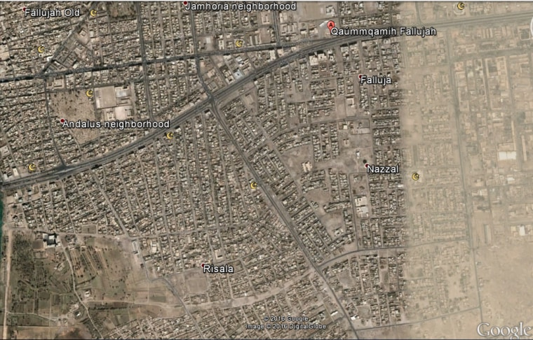 image a map showing the position of the liberated fallujah neighborhoods of risala and nazal