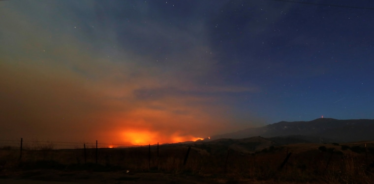 "Image: The so-called ""Sherpa Fire"" burns in the hills near Santa Barbara"
