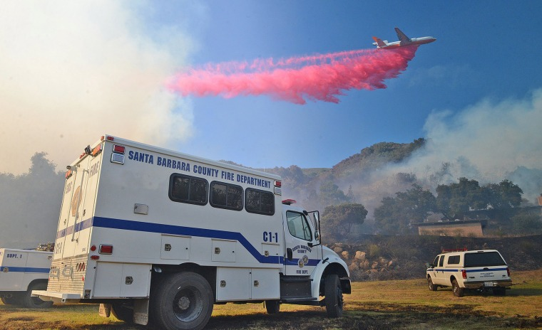 Image: Handout photo of the so-called Sherpa Fire above Santa Barbara, California