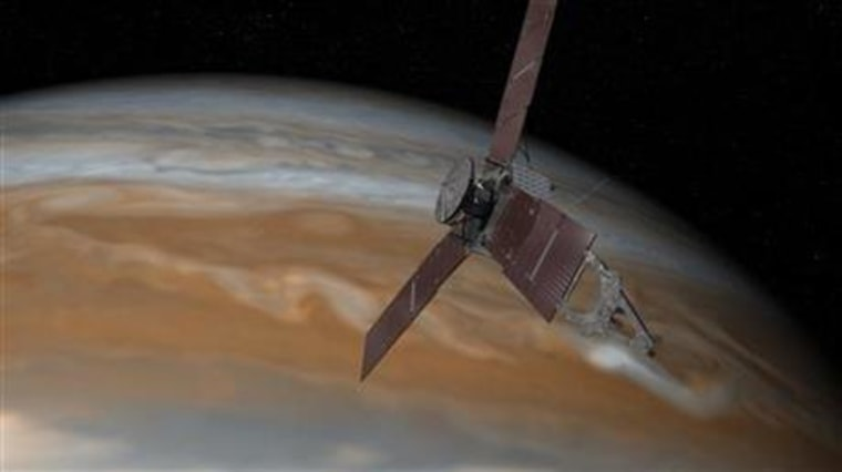 This artist's rendering shows the Juno spacecraft above Jupiter.