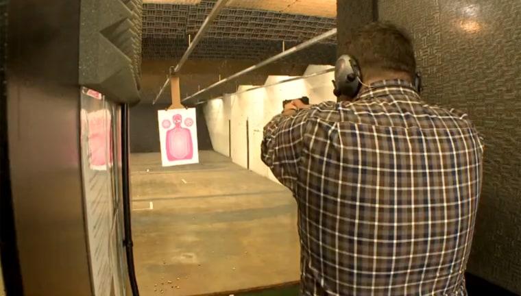 A member of Pink Pistols shoots at targets in Atlanta, Georgia.