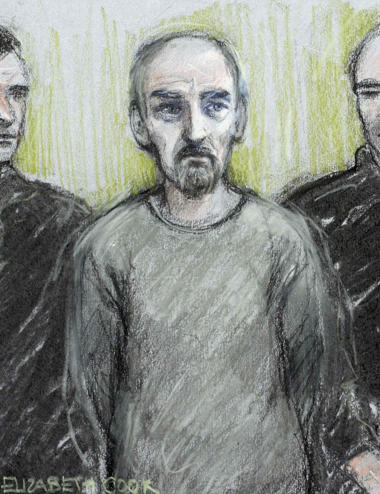 Image: A court artist sketch shows Thomas Mair appearing at Westminster Magistrates' Court in London