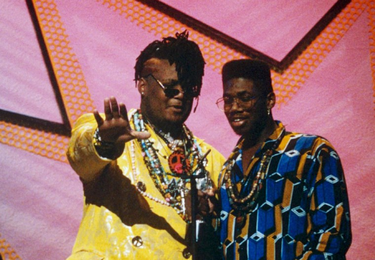 Attrell ' Prince Be ' Cordes, left, and Jarrett Cordes of P.M. Dawn attend the Brit Awards in 1992.