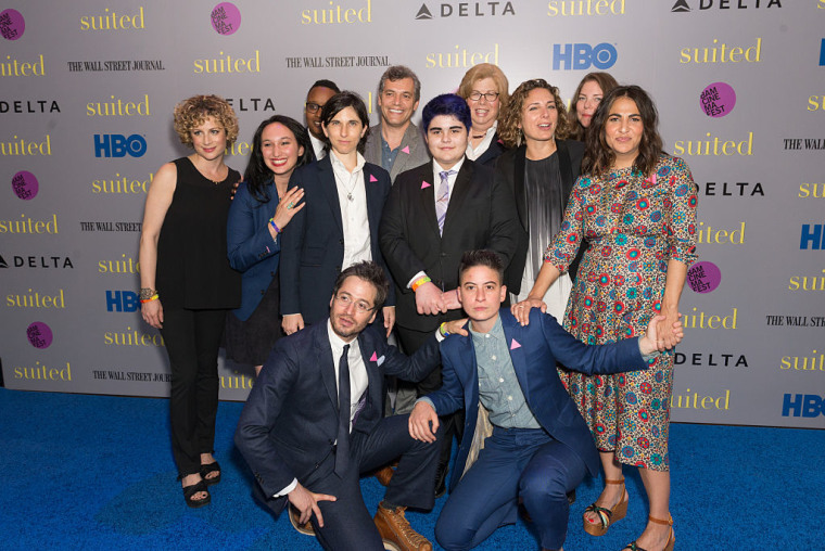 "NEW YORK, NY - JUNE 16: (L-R) Carly Hugo, Guest, Everett Arthur, Mel Plaut, director Jason Benjamin, Aidan Star Jones, Dr. Jillian T. Weiss, Stacey Reiss, Ericka Naegle, producer Jenni Konner, Daniel Friedman of Bindle & Keep, and Rae Tutera of Bindle & Keep attend  the premiere of HBO Documentary ""Suited"" at BAM Rose Cinemas on June 16, 2016 in New York City."