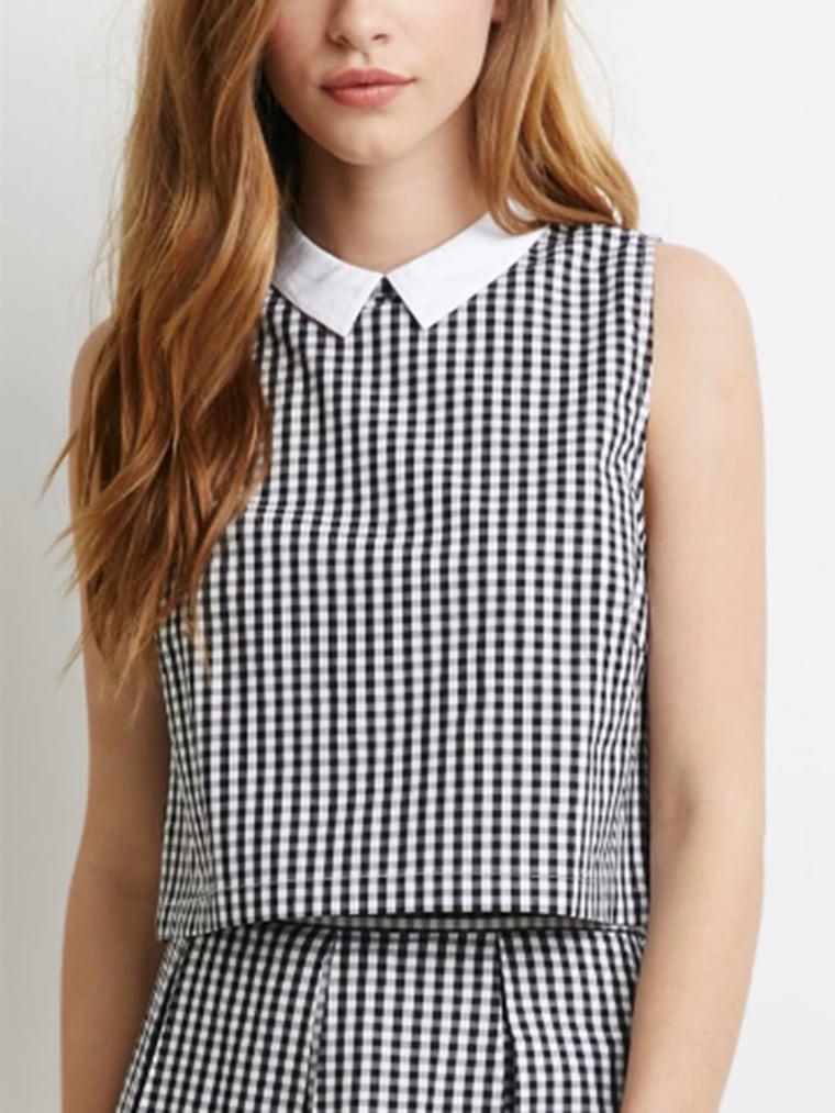 gingham clothes for women, Collared Gingham Crop Top