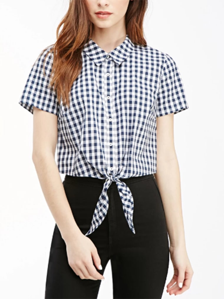 gingham clothes top for women, Cropped Knot-Front Gingham Shirt