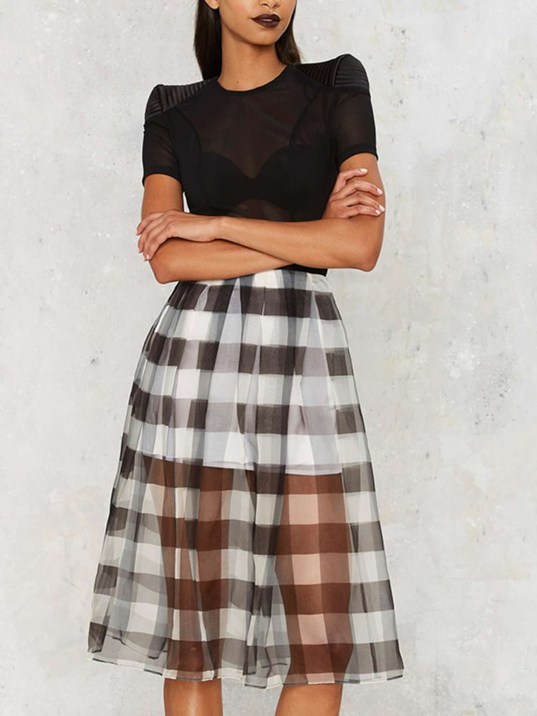 gingham clothes, Kendall   Kylie Gingham Style Silk Skirt