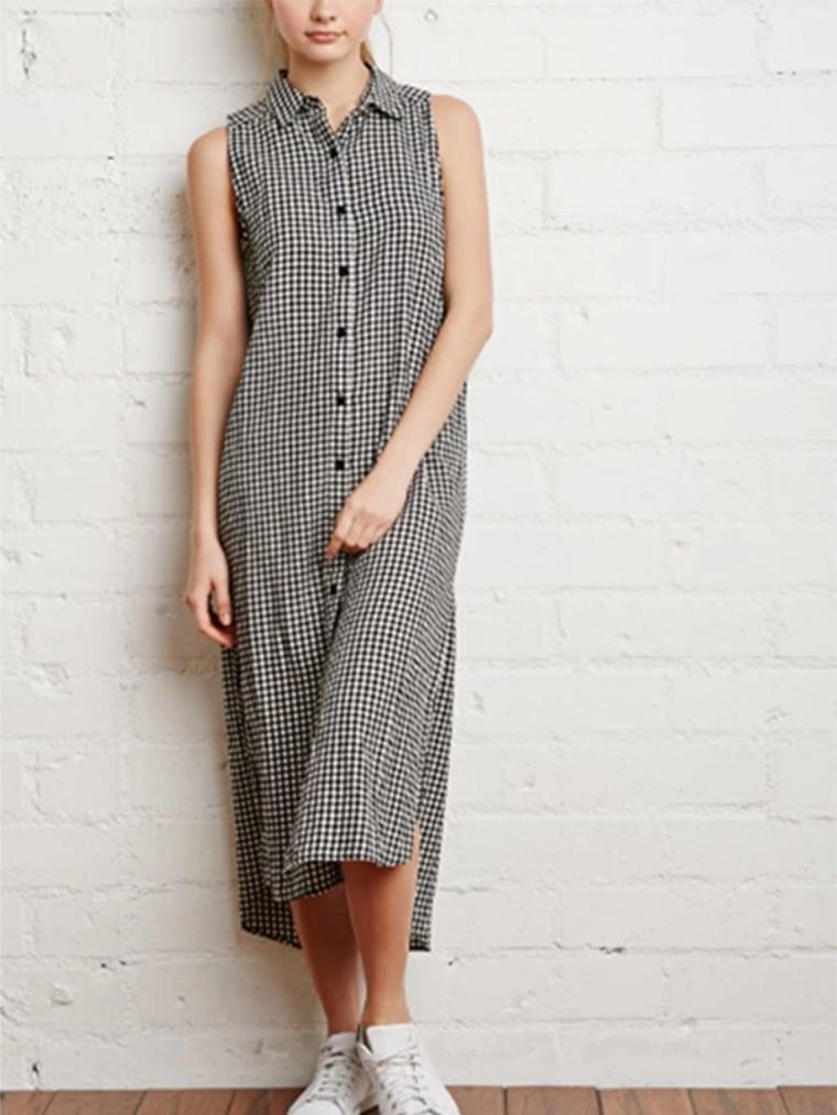 gingham clothes for women, Gingham Midi Shirt Dress