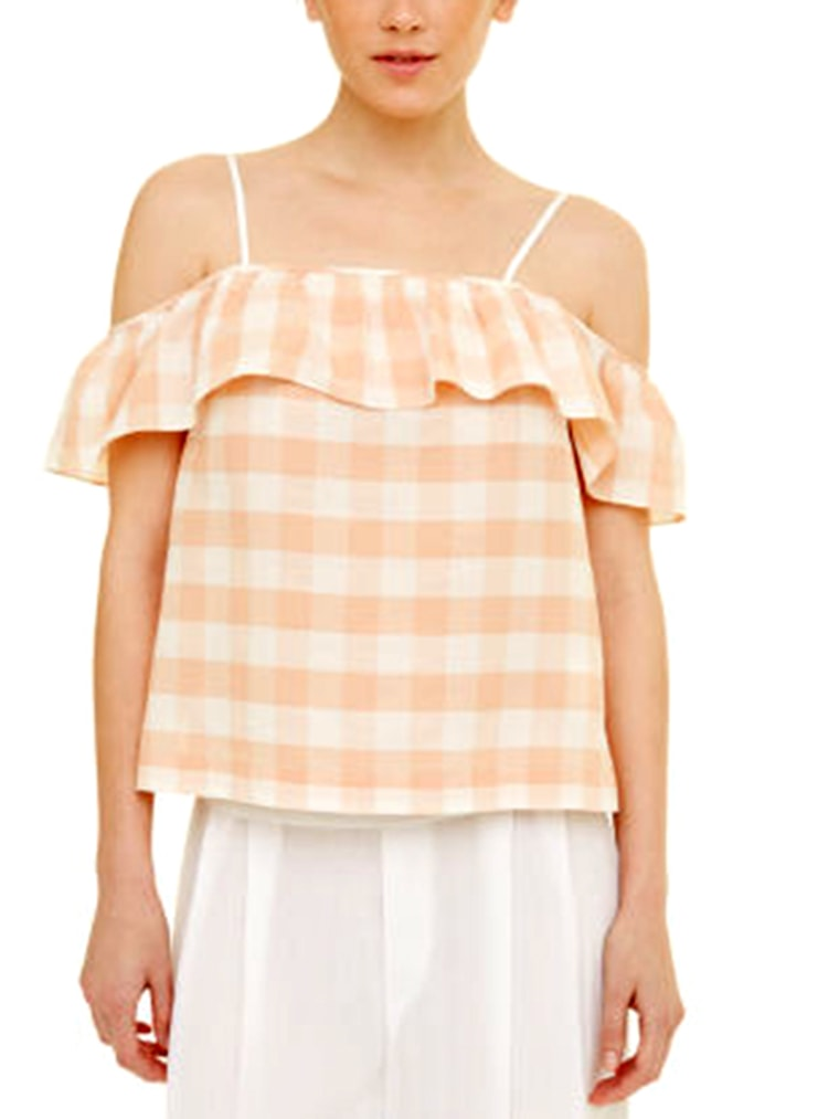 gingham clothes for women, Scarletta Cold-Shoulder Top
