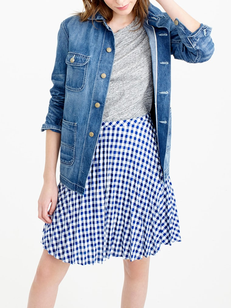 gingham clothes for women, Gingham Pleated Mini Skirt