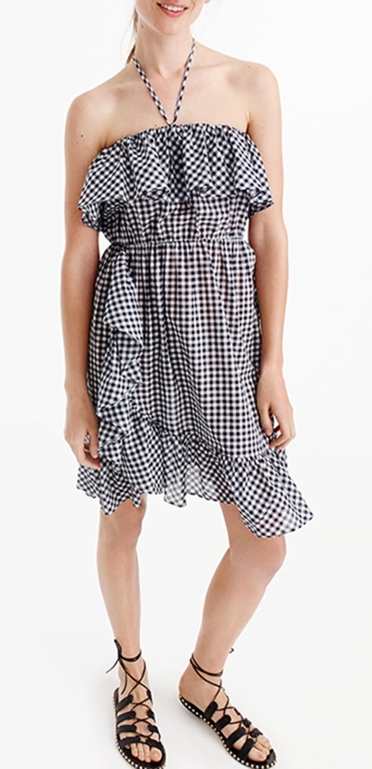 gingham clothes, Ruffled Off The Shoulder Dress