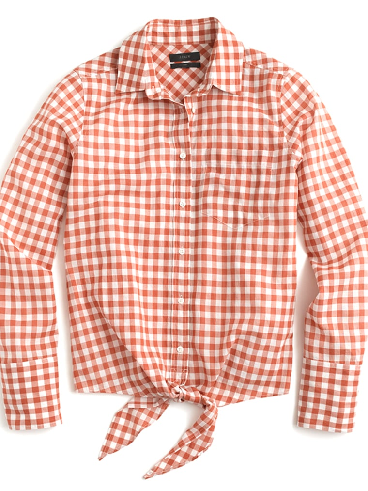 gingham clothes for women, gingham top,  Tie Front Boy Shirt In Gingham