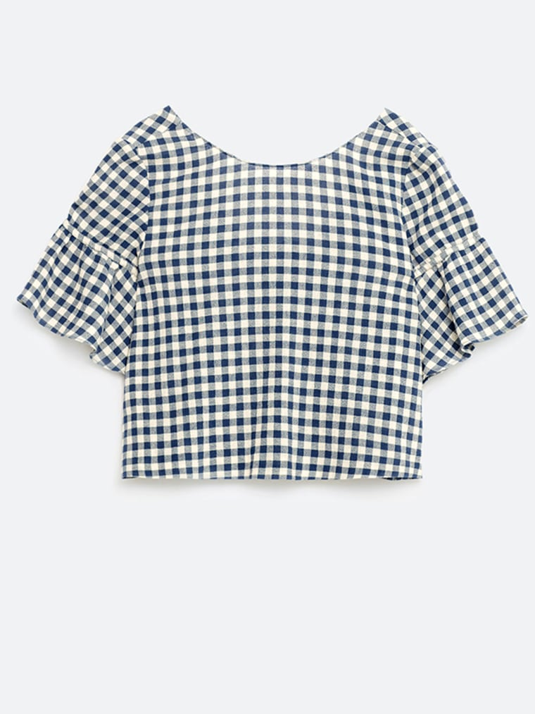 Gingham shirt for women, Top with Ruffled Sleeves