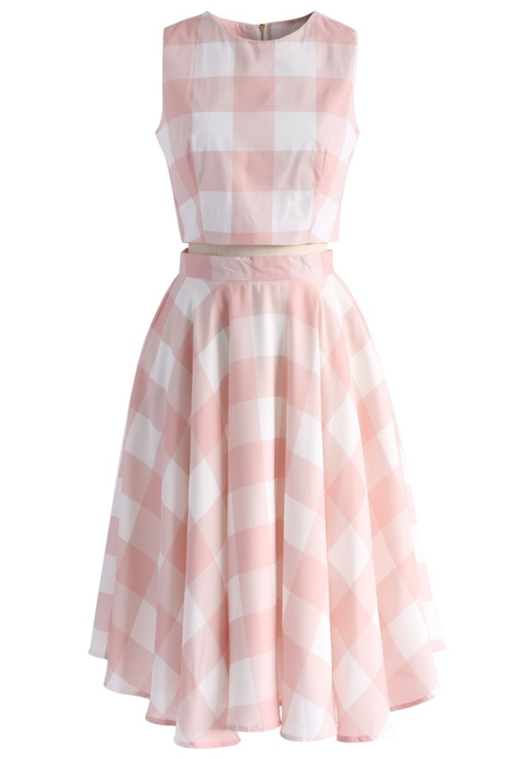 gingham clothing for women Check and Chic Cropped Top and Skirt Set
