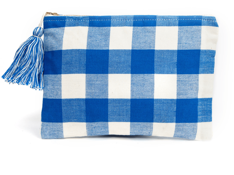 gingham accessories, Hand Woven Blue Gingham Clutch