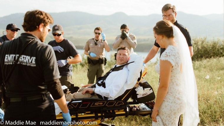 Groom bitten by rattlesnake during wedding photos.