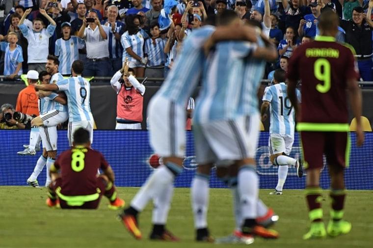 Argentina Celebrates Goal Against Venezuela La Copa America - COPAM2016-ARG-VEN