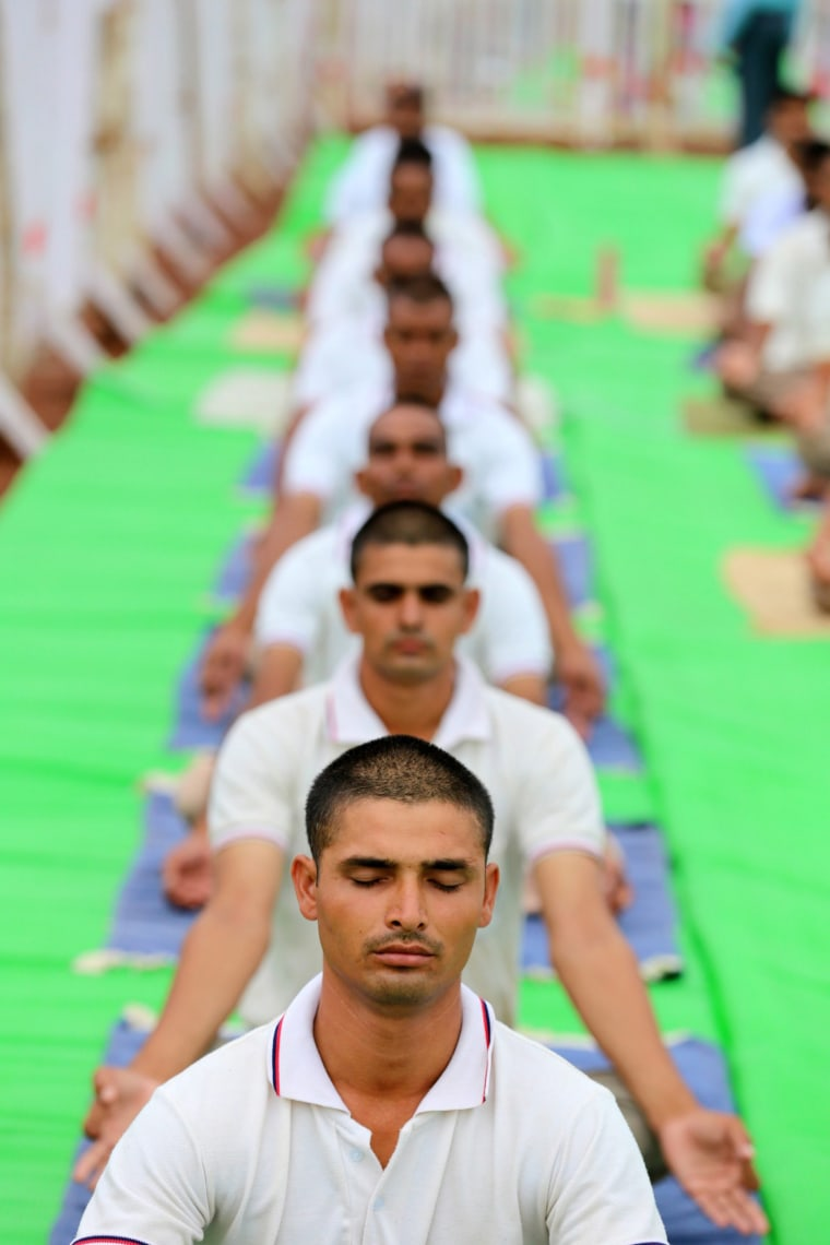 Image: Preparations for the World Yoga Day in Bhopal