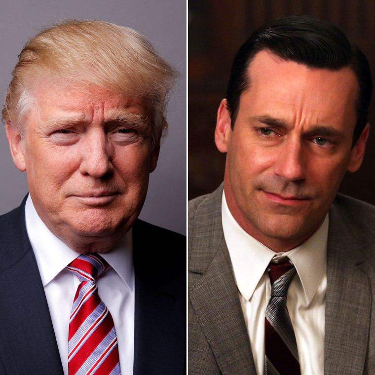 "Presumptive republican presidential candidate Donald Trump and Jon Hamm as Don Drapper in ""Mad Men."""