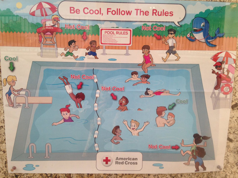 Pool safety poster that brought about an apology from Red Cross Hospital.